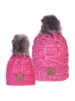 CC Chic MOM & ME Pom Beanies - Pink / White - Back