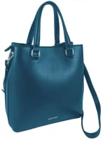 Ellen Tracy Smooth PU Quilted Double Handle Satchel with Crossbody - Teal - Back