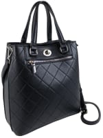 Ellen Tracy Smooth PU Quilted Double Handle Satchel with Crossbody - Black - Front