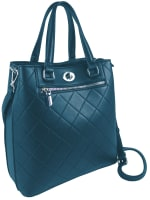 Ellen Tracy Smooth PU Quilted Double Handle Satchel W. Crossbody - Teal - Front