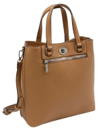 Ellen Tracy Smooth PU Quilted Double Handle Satchel with Crossbody - Natural - Front
