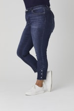 Signature 5 Pocket Skinny Ankle Jean With Snap Button At Ankle - Plus - 4