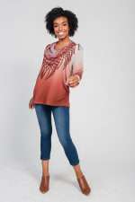 Ombre Print Knit Tee & Scarf Set - Rusty / Rusty Field - Front