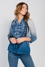 Ombre Print Knit Tee & Scarf Set - Blue / Midnight Tone - Front