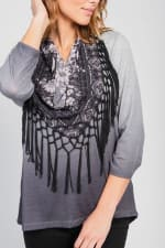 Ombre Print Knit Tee & Scarf Set - Grey / Black Shade - Detail