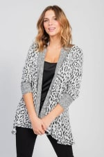 Leopard Cardigan with Reverse Collar - 1