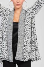 Leopard Cardigan with Reverse Collar - 4