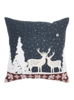 """Holiday Deer Winterscape 20""""x20"""" Blue Cotton Pillow Cover - Blue - Front"""