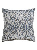 Damask Blue & Natural Throw Pillow - 1