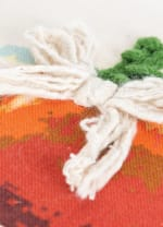 """Pumpkins and Gourds Embroidered 20""""x20""""Multicolor Cotton Poly Filled Pillow - Natural - Back"""