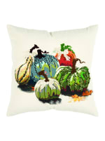 """Pumpkins and Gourds Embroidered 20""""x20""""Multicolor Cotton Poly Filled Pillow - Natural - Front"""