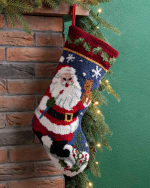 Santa Hooked Stocking - Black / Red / White - Back