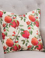 "Botanical Pomegranate 20""x20"" Multi Color Cotton Poly Filled Pillow - Red - Front"