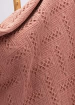 Coral Pink Grid Cotton Woven Throw - Coral Pink - Back