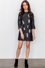 Denim Distressed Mini Dress - 3