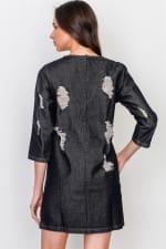 Denim Distressed Mini Dress - 2