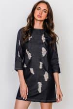 Denim Distressed Mini Dress - 1