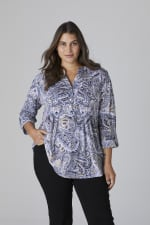 Roz & Ali Paisley Pintuck Popover - Plus - Denim/Taupe - Front