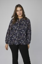 Westport Ditsy Ruffle Neck Blouse - Plus - Navy - Front