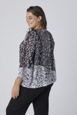 Westport Twin Print Bubble Hem Blouse - Plus - Black/White - Back