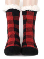 Buffalo Plaid Sherpa Lined Slipper Socks - Red/Black - Front