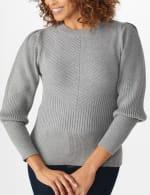 Roz & Ali Novelty Sleeve Stitch Interest Pullover Sweater - 4
