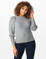 Roz & Ali Novelty Sleeve Stitch Interest Pullover Sweater - 5