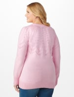 Roz & Ali Pointelle Pullover Sweater - Plus - Pink Cream - Back