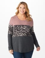 Westport Animal Mix Media Hacci Top - Plus - Dusty Pink - Front