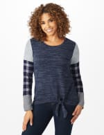 Westport Plaid Cuff Hacci Sweater Knit Top - Navy Heather - Front