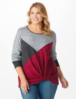 Westport Color Block Hacci Twist Front Top - Plus - Multi - Front
