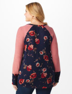 Westport Floral Hacci Twist Front Mix Media Top - Plus - Navy/Mauve - Back