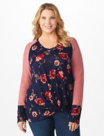 Westport Floral Hacci Twist Front Mix Media Top - Plus - Navy/Mauve - Front