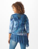 Velvet Asymmetrical Hem Knit Top - Blue - Back