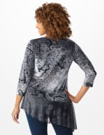 Velvet Asymmetrical Hem Knit Top - Grey - Back
