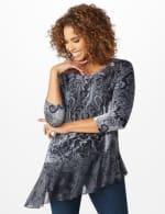 Velvet Asymmetrical Hem Knit Top - Grey - Front