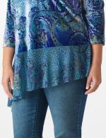 Velvet Asymmetrical Hem Knit Top - Plus - 4