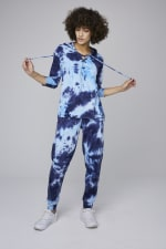 Tie Dye French Terry Jogger Pants - Navy - Front