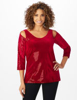 Roz & Ali Velvet Shimmer Dot Tunic Knit Top - Misses - Red - Front