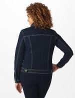 Westport Stretch Denim Button Front Jean Jacket - Dark Denim - Back