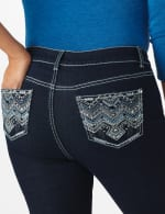 Westport Signature 5 Pocket  Bootcut Jean with Chevron Pattern Bling Back Pocket - Dark Wash - Front