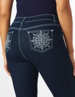 Westport Signature 5 Pocket Bootcut Jean with Starburst Pattern Bling Back Pockets - Dark Wash - Front