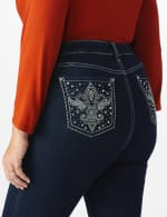 Plus Westport Signature 5 Pocket Bootcut Jean with Fleur-de- lis Bling Back Pocket  - Plus - Rinse - Front