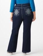 Plus Westport Signature Bootcut 5 Pocket Jean with Starburst Bling Back Pocket Detail - Plus - Dark Wash - Detail