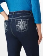Plus Westport Signature Bootcut 5 Pocket Jean with Starburst Bling Back Pocket Detail - Plus - Dark Wash - Front