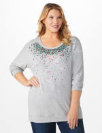 DB Sunday Cascade Sequin Hacci Sweater Knit Top - Plus - Light Grey - Front