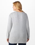 DB Sunday Cascade Sequin Hacci Sweater Knit Top - Plus - Light Grey - Back