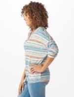 Textured Stripe Tie Front Knit Top - 4