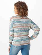 Textured Stripe Tie Front Knit Top - 2