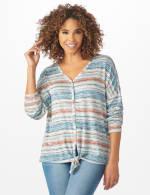 Textured Stripe Tie Front Knit Top - 6